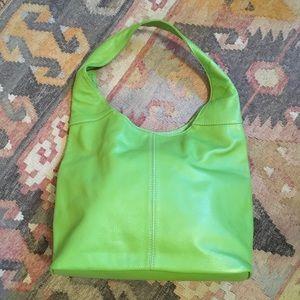 Vera Pelle Green Pebbled Leather Hobo Bag